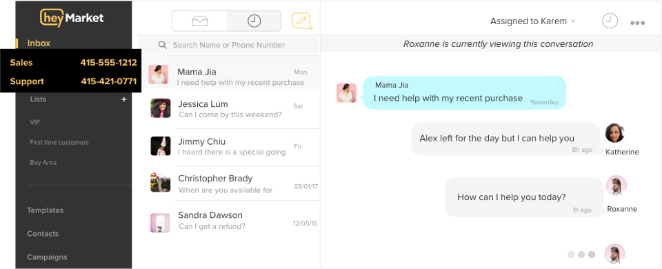 Shared inbox for customer support over text messaging