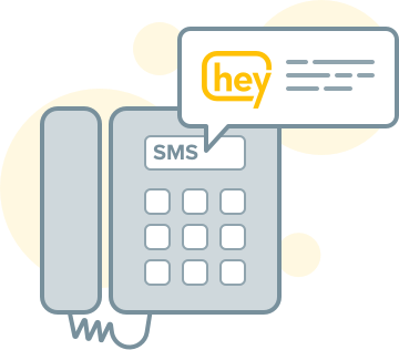 Illustration of phone highlighting Heymarket's ability to text enable landline numbers
