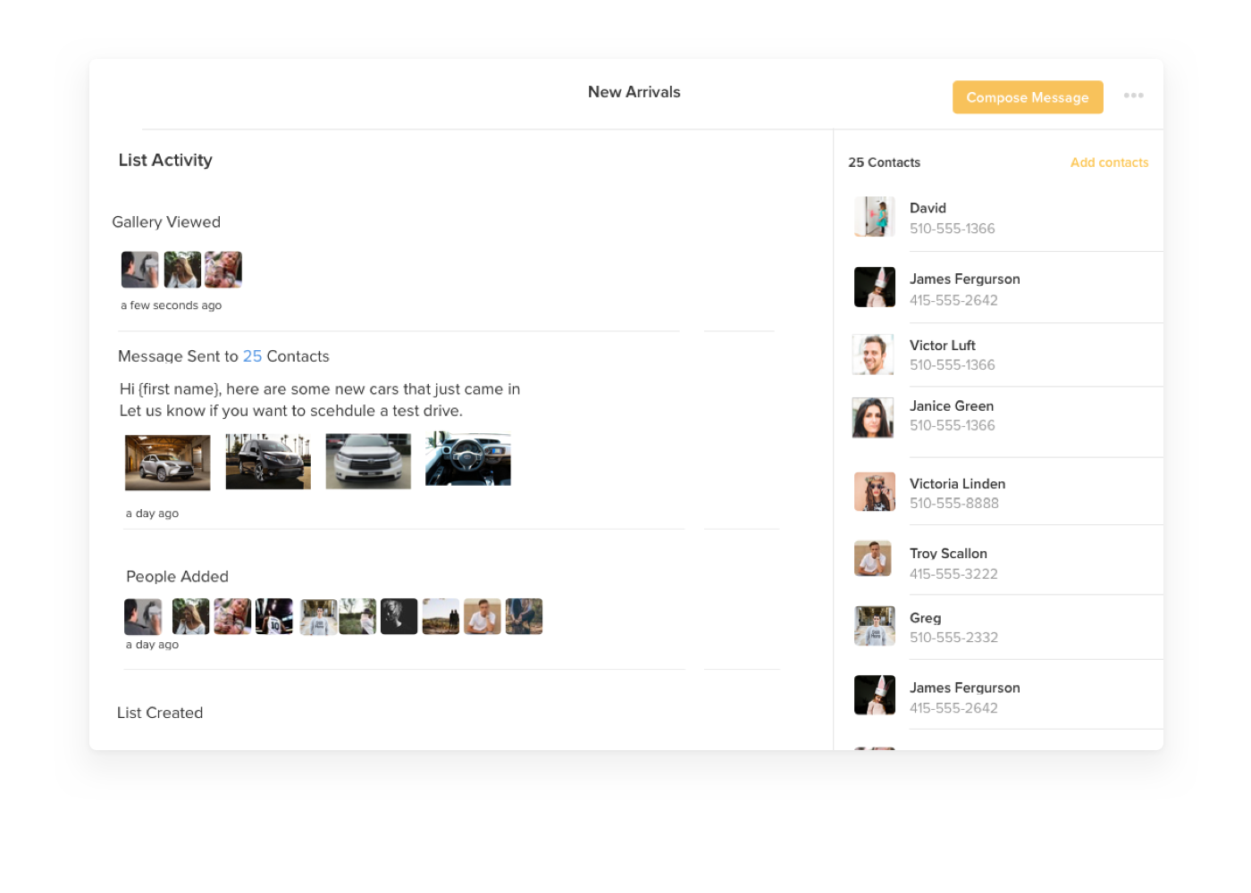 Heymarket webapp screen showing a list of contacts for test driving cars