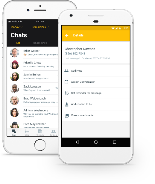 Heymarket mobile app screens showing contact management for your team