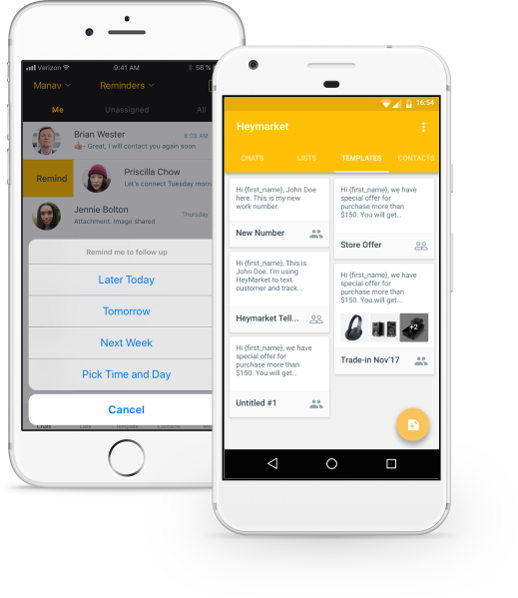 Heymarket mobile app screens showing template messages and scheduling