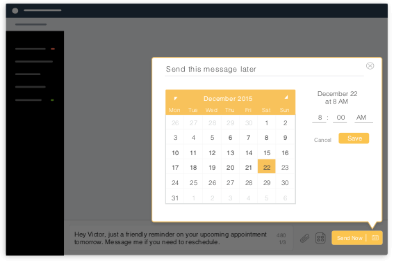 Webapp screen with message schedule for date and time