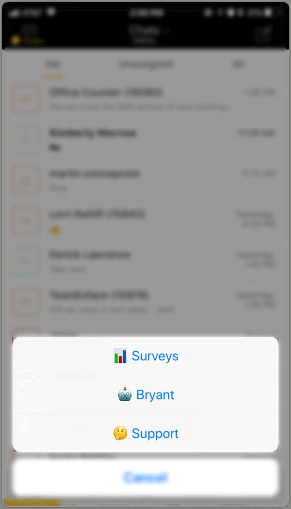 Mobile app screen showing emoji in inbox names