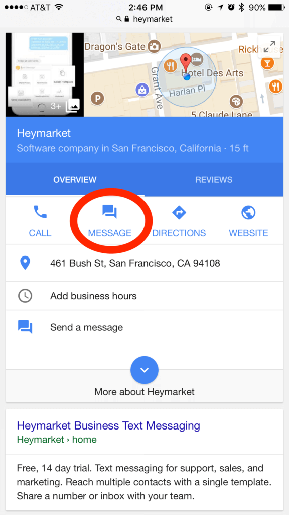 SMS from Google My Business