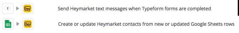 Heymarket integrates with Zapier
