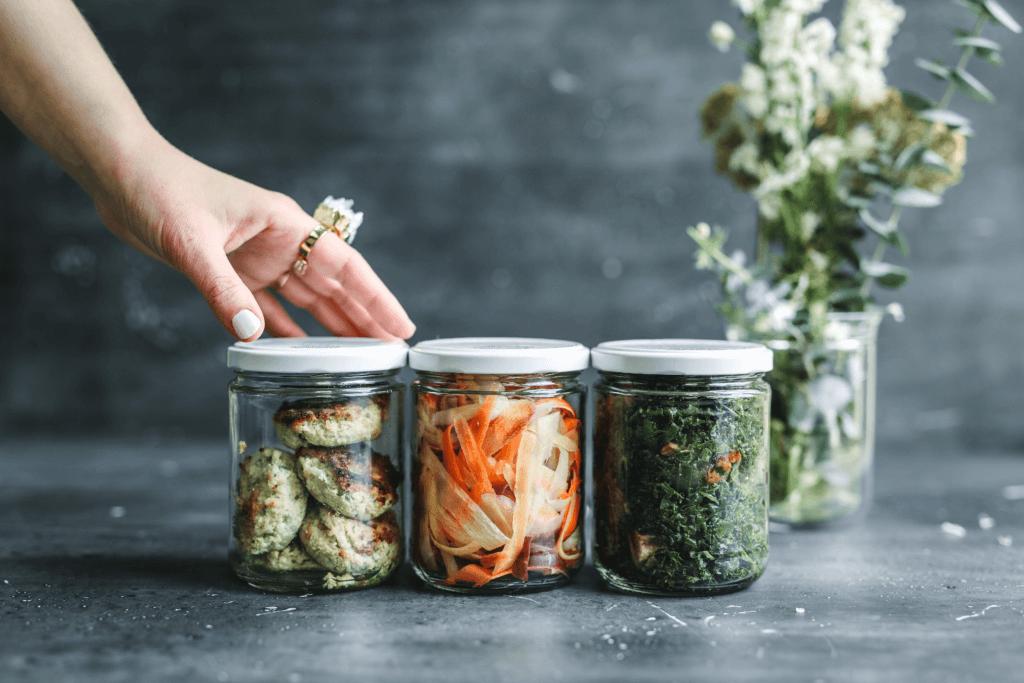 Nutritious food in mason jars.