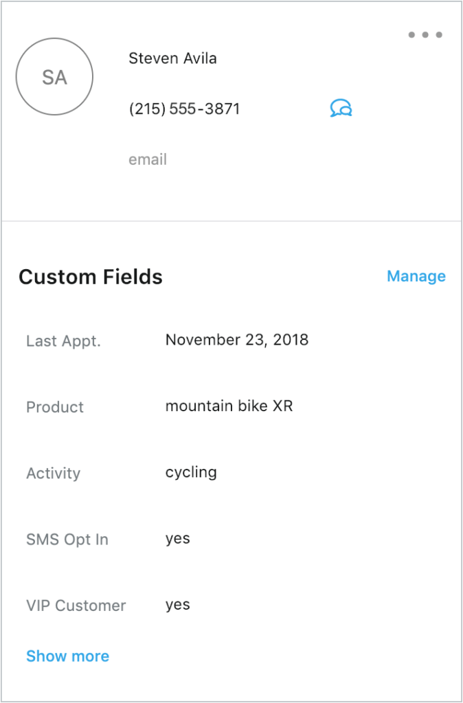 Zendesk SMS contact pane example on Heymarket