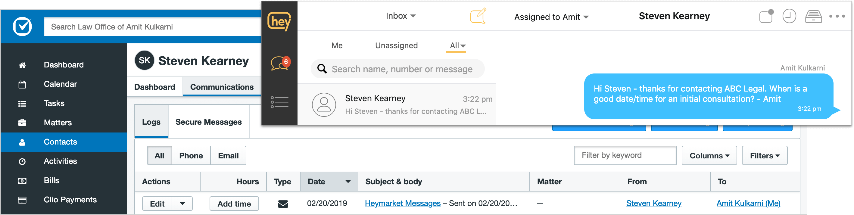 Heymarket Business Text Messaging with Clio