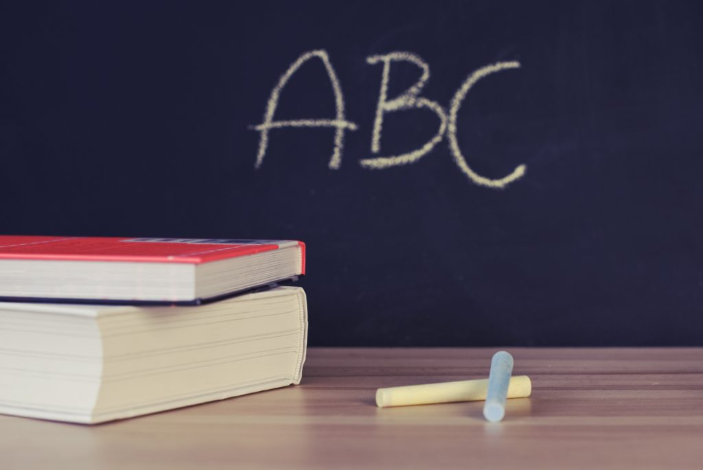 Chalkboard with ABCs.
