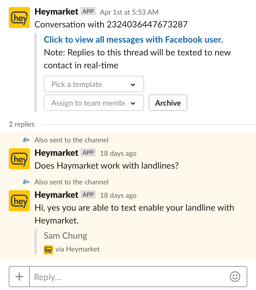 Facebook messages in Slack