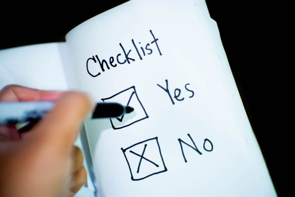 Checklist with 'yes' and 'no'.