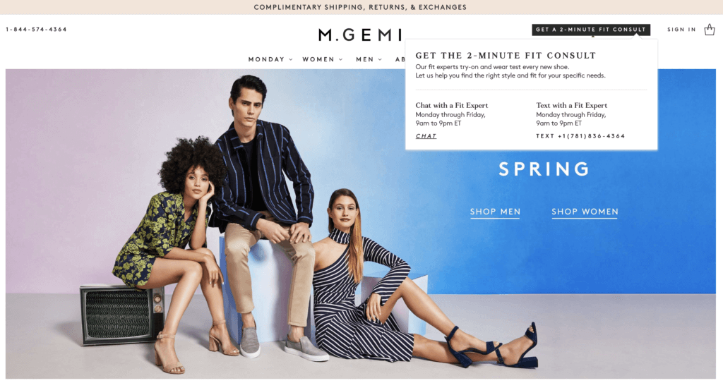 M. Gemi website with click-to-text.