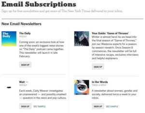 Email marketing subscription with New York Times.