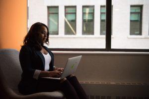Businesswoman working on computer.