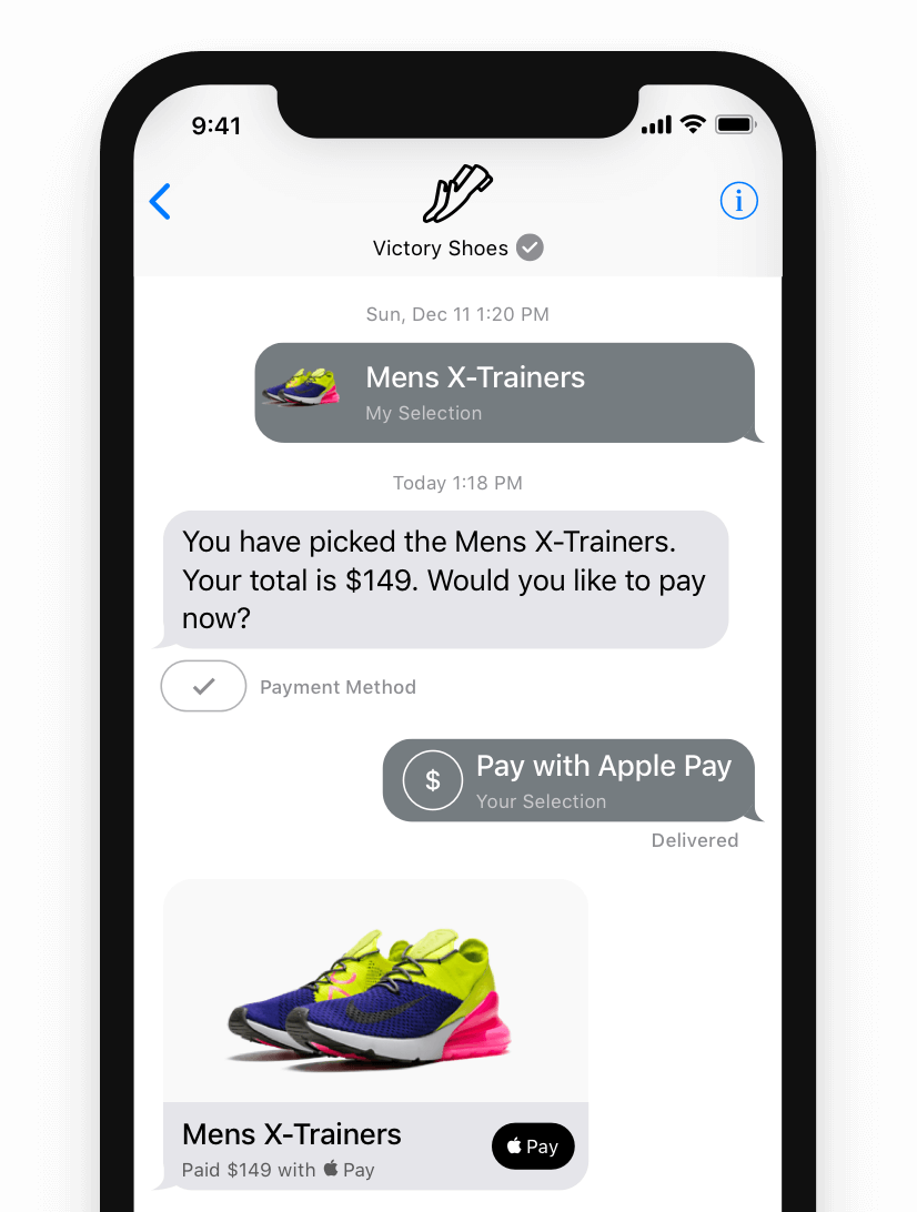 purchasing products and services through apple business chat