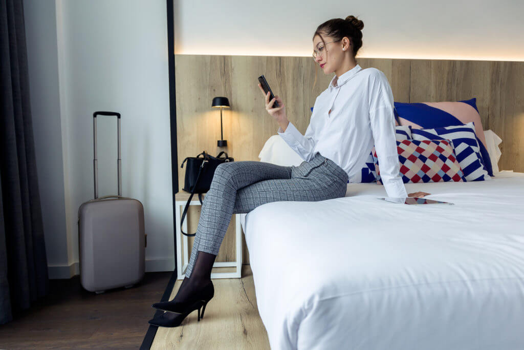 Business texting from hotel room