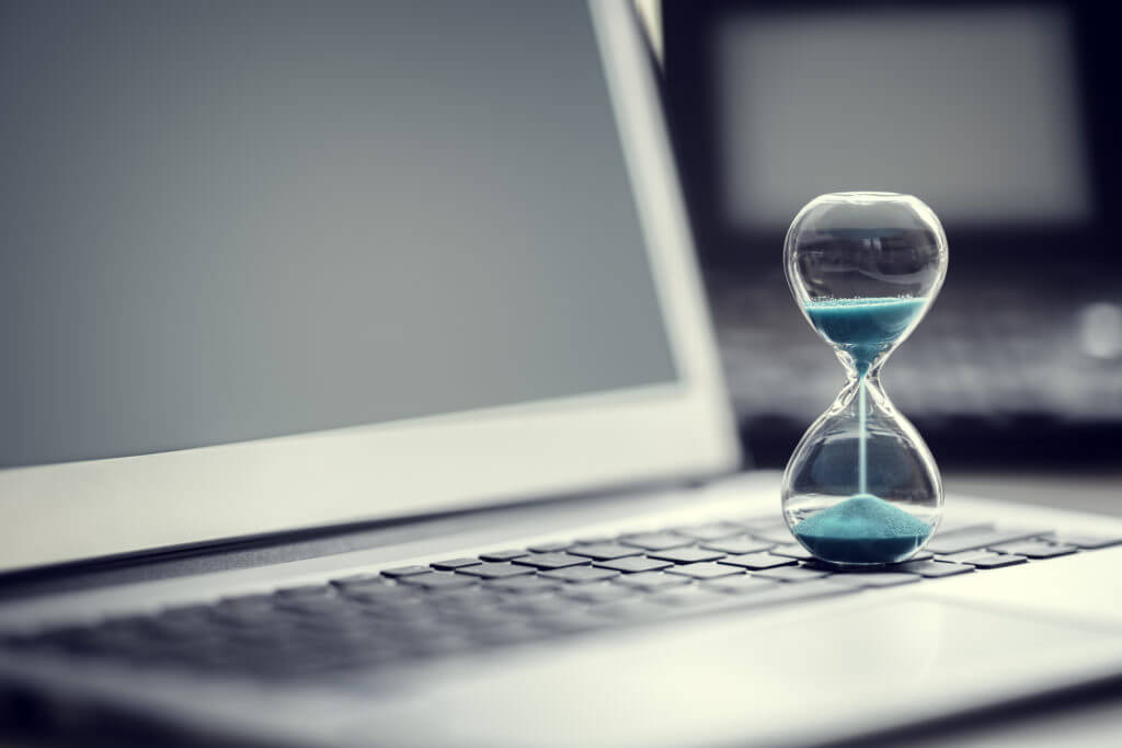 Hourglass on computer