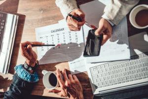 Team using business SMS calendar
