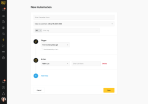 New automations screen in Heymarket