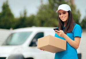 Delivery worker using dispatch text messaging