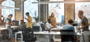 Busy office that uses business SMS auto replies