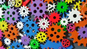 Gears symbolizing SMS automation