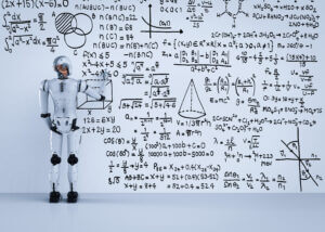 Robot standing next to wall of text implying machine learning in business text messaging
