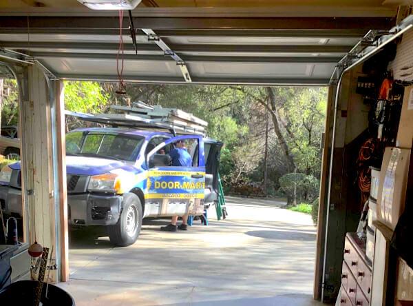 Door-Mart truck viewed from garage door