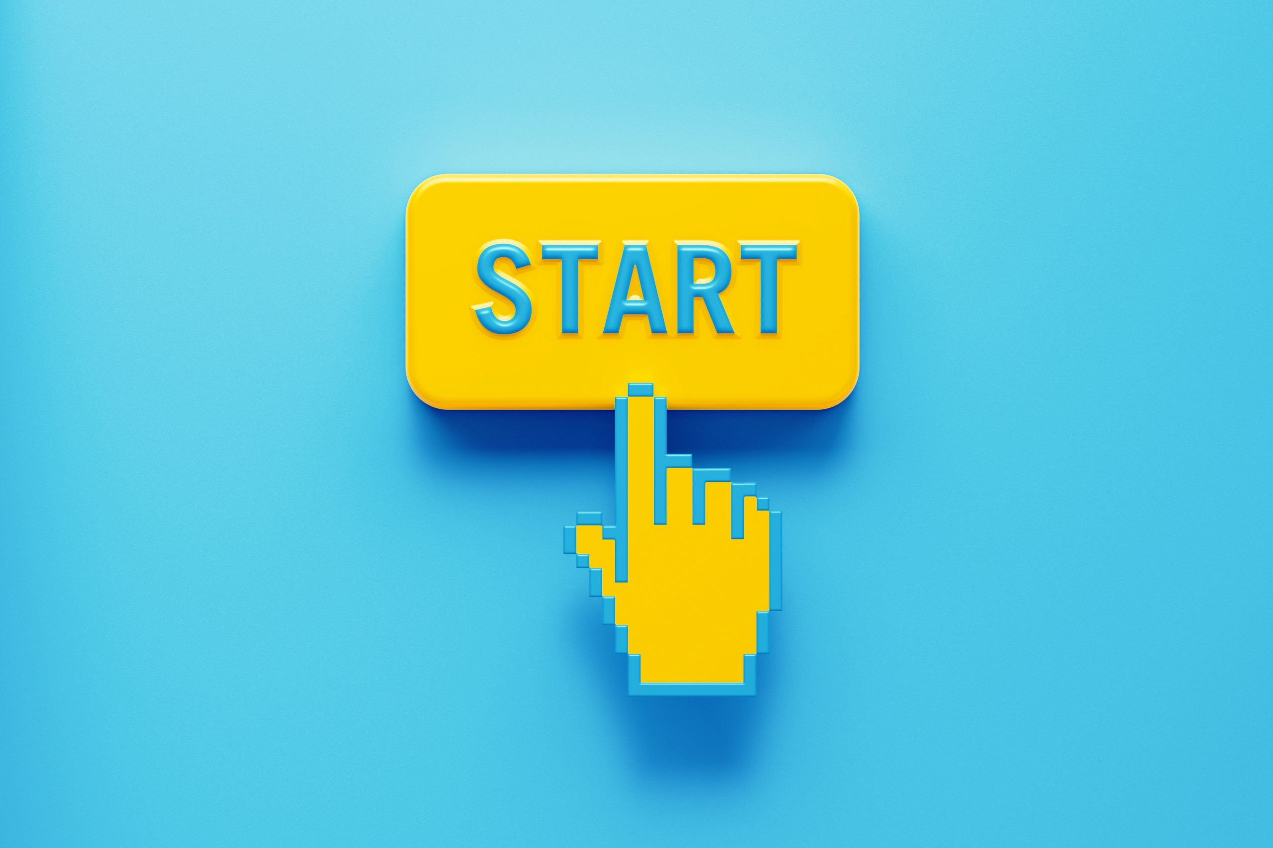 """Cursor pressing """"start"""" button to signify getting started with sms customer engagement"""