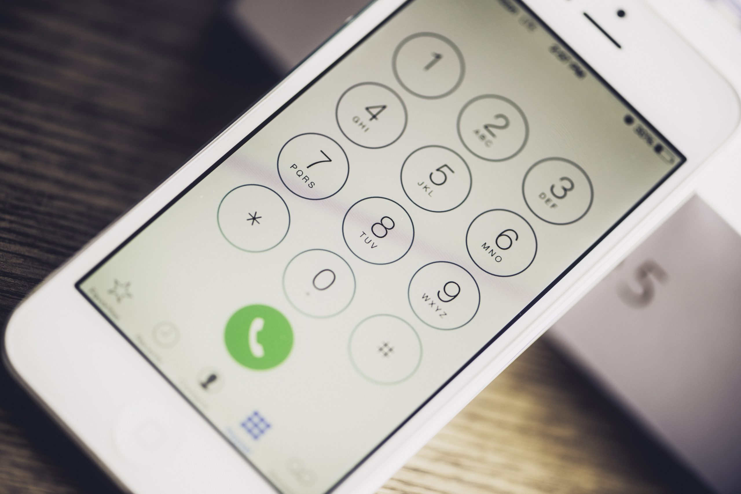 Close-up of phone screen to show sms security