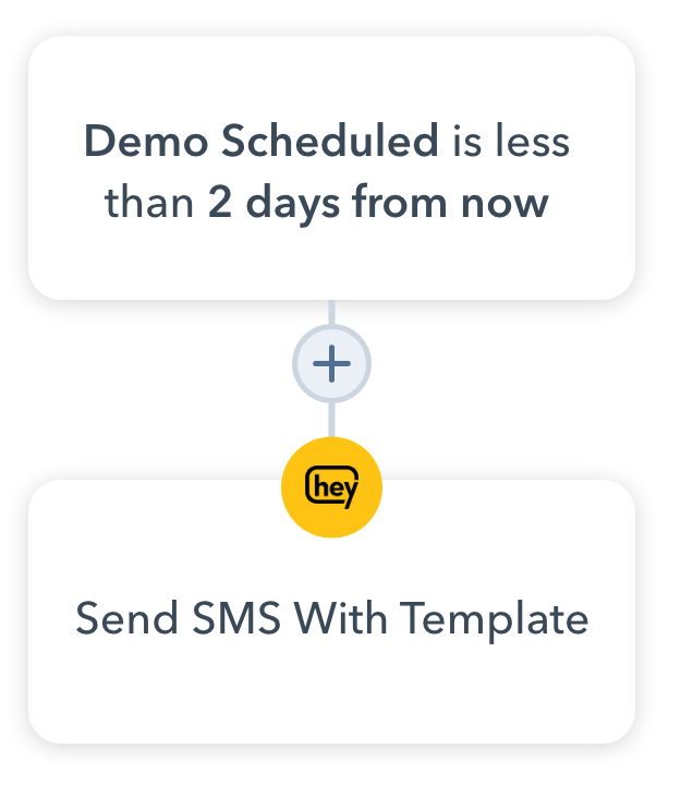 """Demo reminder workflow in HubSpot CRM using SMS: Trigger is """"Demo Scheduled is less than 2 days from now"""" and action is """"Send SMS With Template"""""""